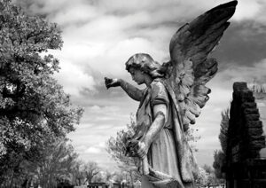 Image of an angel from Magnolia Cemetery in Mobile